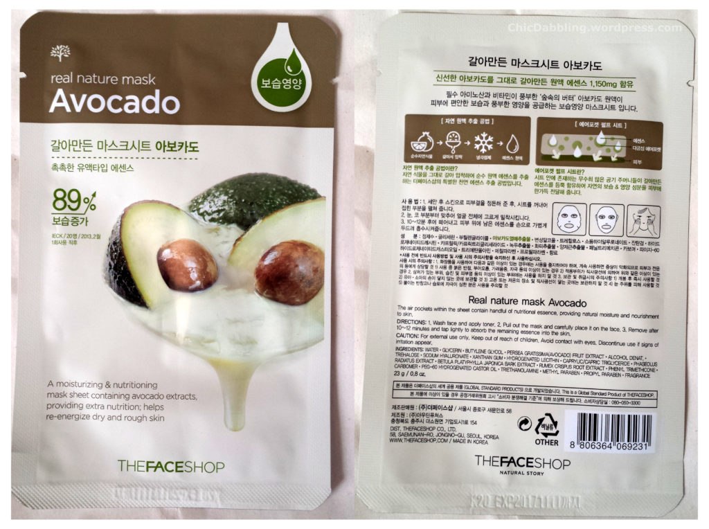 The Face Shop Real Nature Avocado Face Mask:
